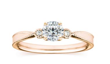 婚約指輪 0.305ctダイヤモンド、F、VS1、3EX H&C、K18PGクラシカルリング   BRILLIANCE+