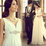 女神風。大人上品なスレンダーラインウェディングドレス【Angelia】